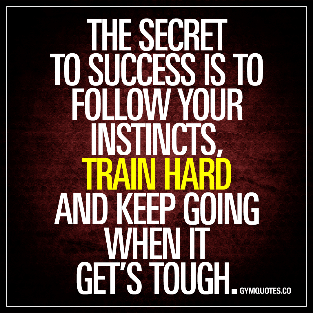 The Secret Quotes The Secret To Success Is To Follow Your Instincts Train Hard