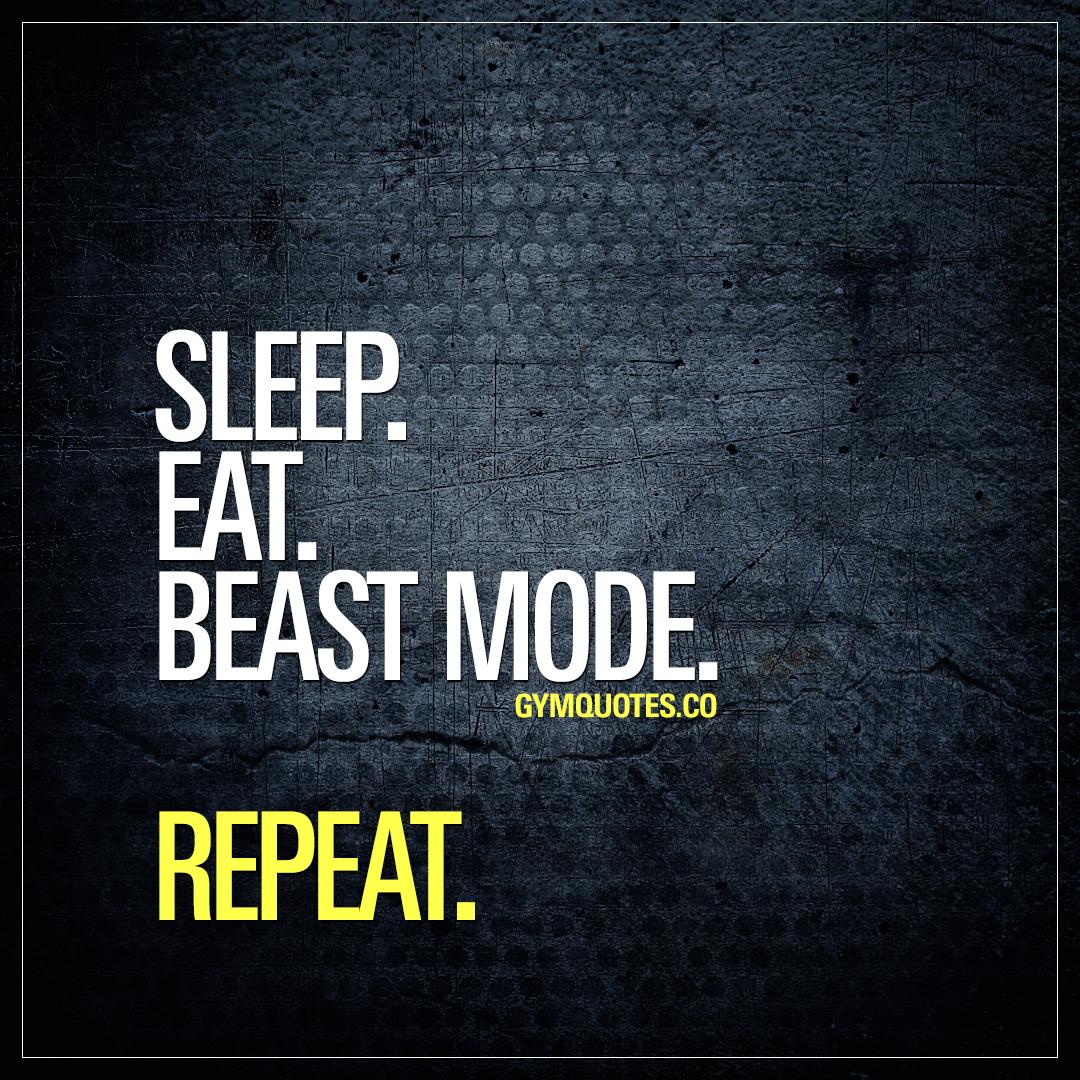 Sleep. Eat. Beast mode. Repeat.