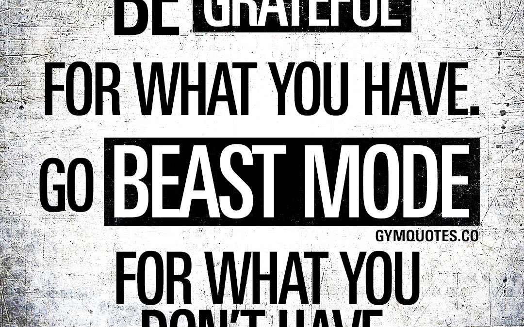 Be grateful for what you have. Go beast mode for what you don't have.