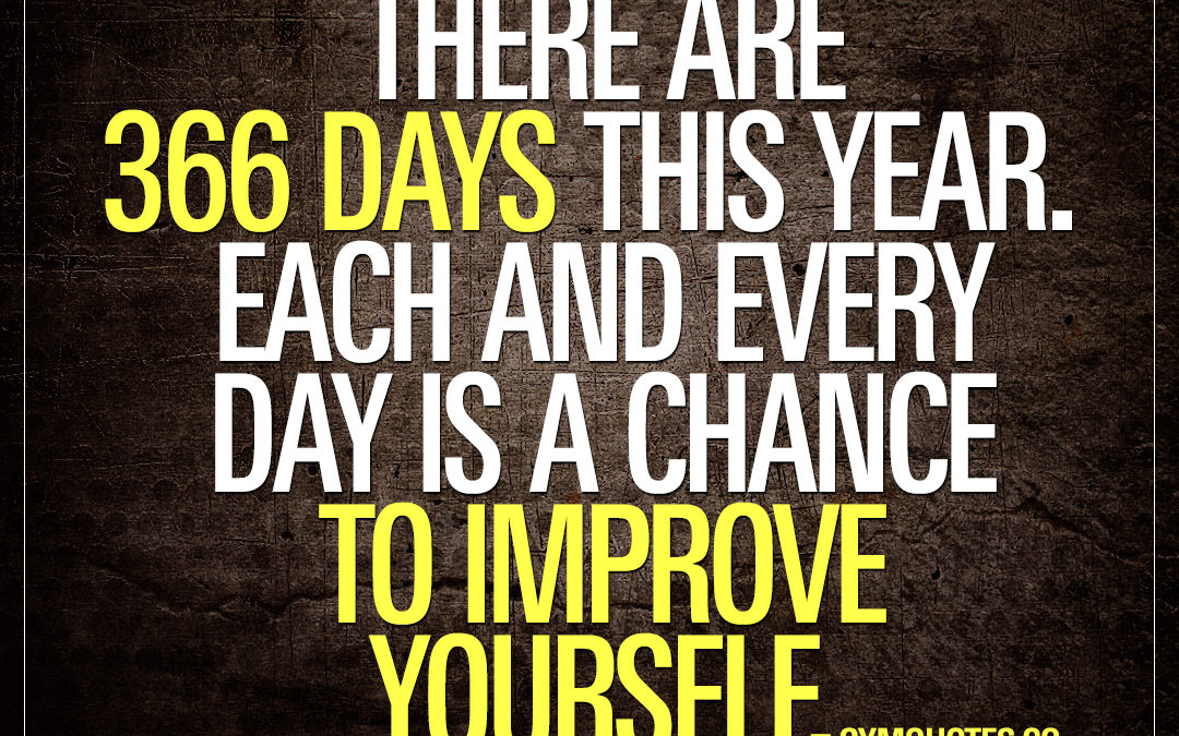 There are 366 days this year. Each and every day is a chance to improve yourself.